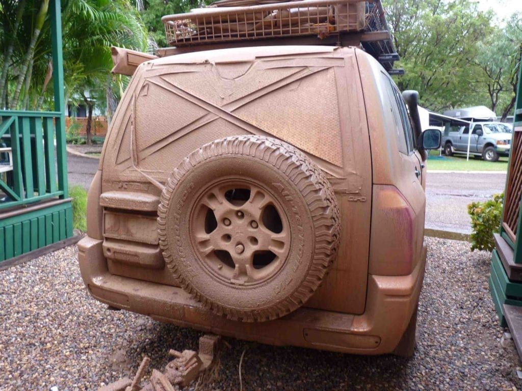Off-Road Race Vehicle. NP Pajero covered in mud from a very wet Gibb River Road