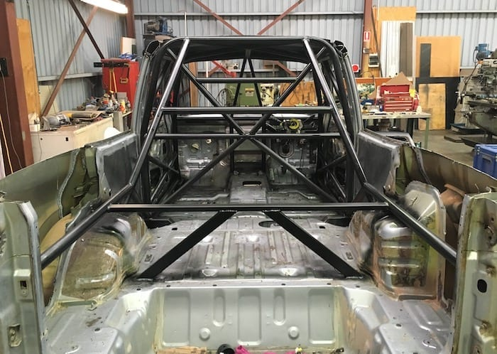 Rear view of the roll cage.