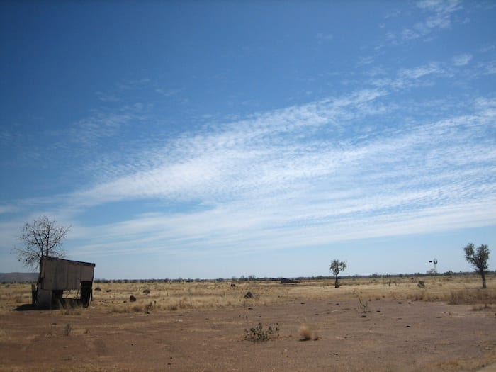 Abandoned meat works, on the road to Mornington Wilderness Camp.