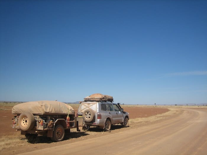 The fine red dust is like talculm powder. On the road to Mornington Wilderness Camp.