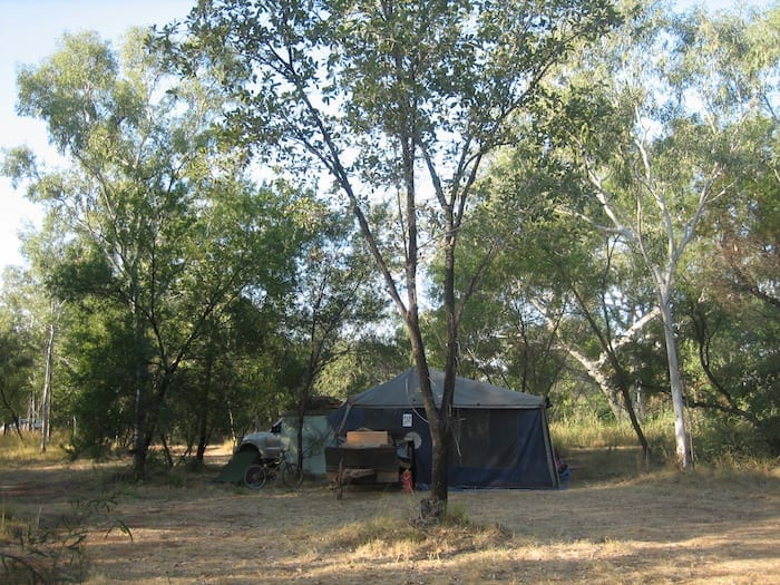 Cool and shady campsite at Mornington Wilderness Camp.