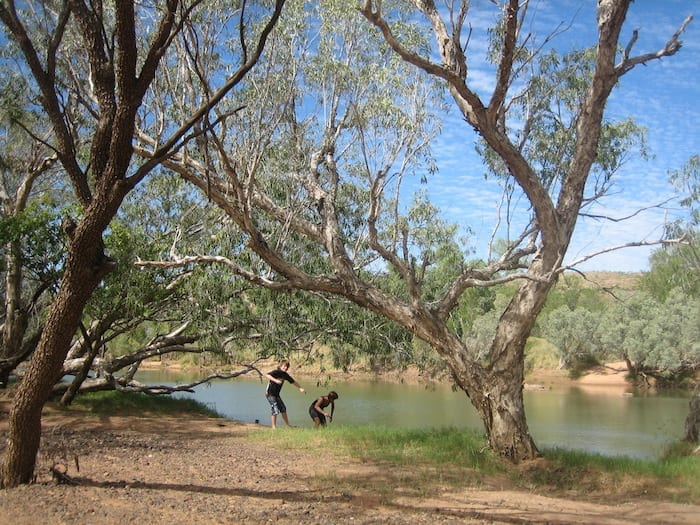 Skimming stones on the Fitzroy River, Mornington Wildlife Sanctuary.