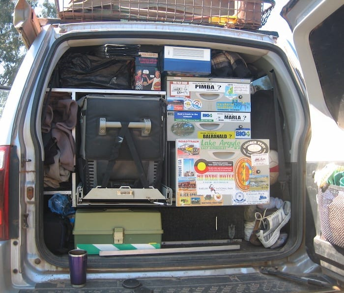 Our Pajero loaded on one of our trips. Note the air gap around the Waeco fridge, especially around the ventilation slots.