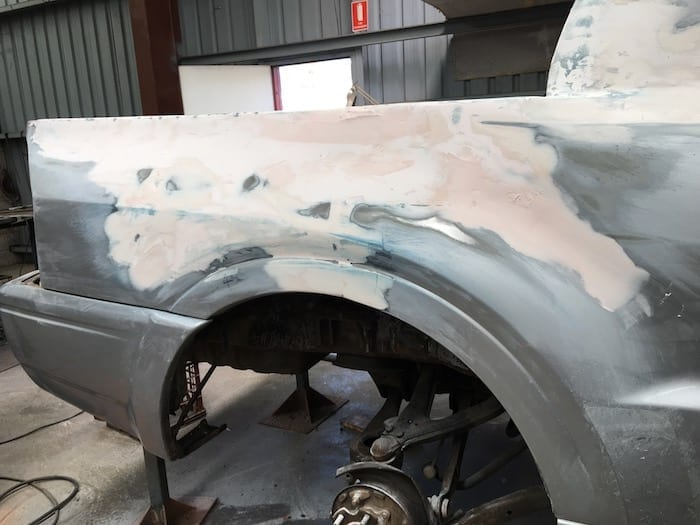 Pajero Ute Conversion - rear doors and fuel filler door welded shut. The sanding back begins!