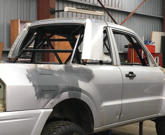 Pajero Ute Conversion. Rear door-surround finishes off the back of the cab nicely.