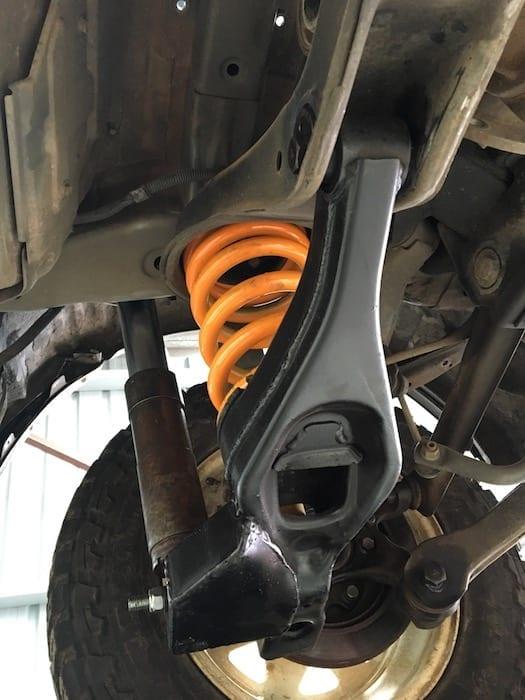 A shot from underneath of the rear suspension. Off Road Suspension.