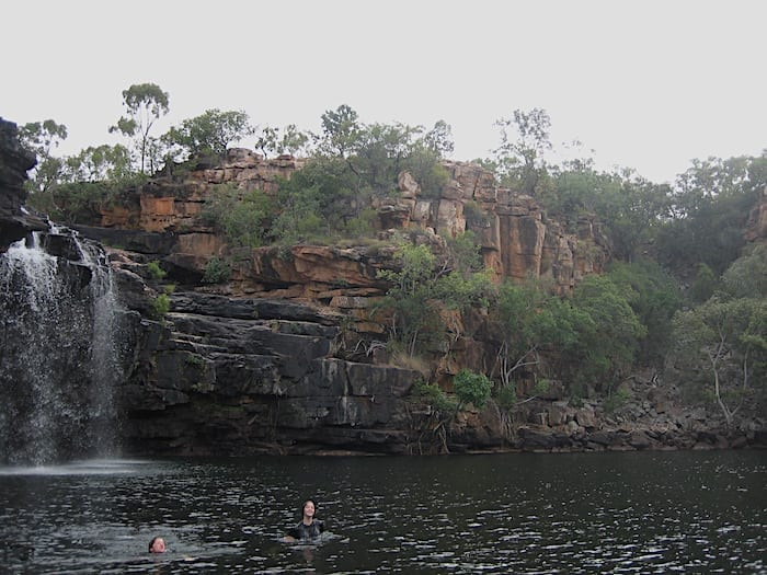 Swimming in the plunge pool at Manning Gorge, near Mount Barnett.