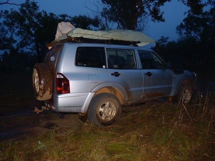 The rain started just on dark. The Pajero getting a bath. Kalumburu Road.