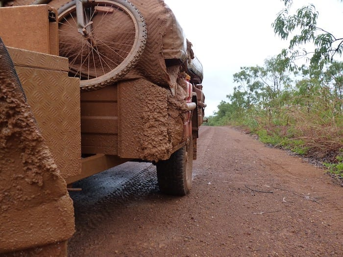 Halfway to Drysdale River Station, Kalumburu Road. The camper trailer would be needing a wash!
