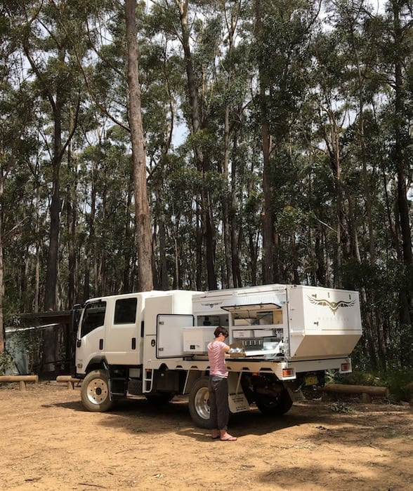 A typical lunch stop in the bush. Wedgetail Camper Outside Kitchen.