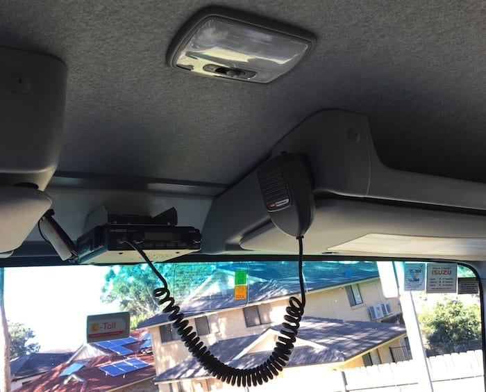 Custom-made mounting bracket for GME UHF. Off Road Truck.