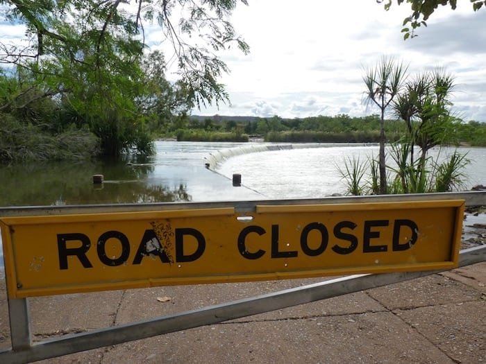 Wise words, considering the causeway was well under water. Ivanhoe Crossing near Kununurra.