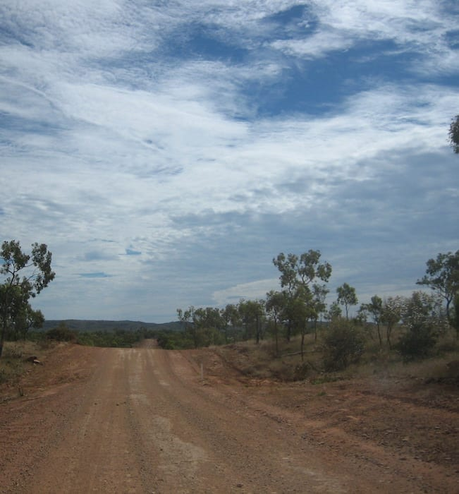 Road heading north to Lawn Hill. Adels Grove.