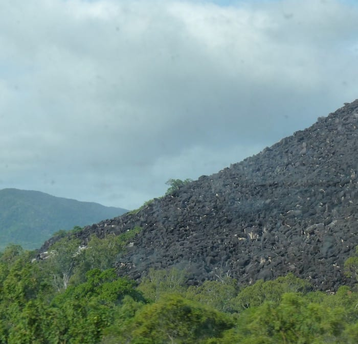 Black Mountain looms ominously out of the tropic rainforest. Cooktown.