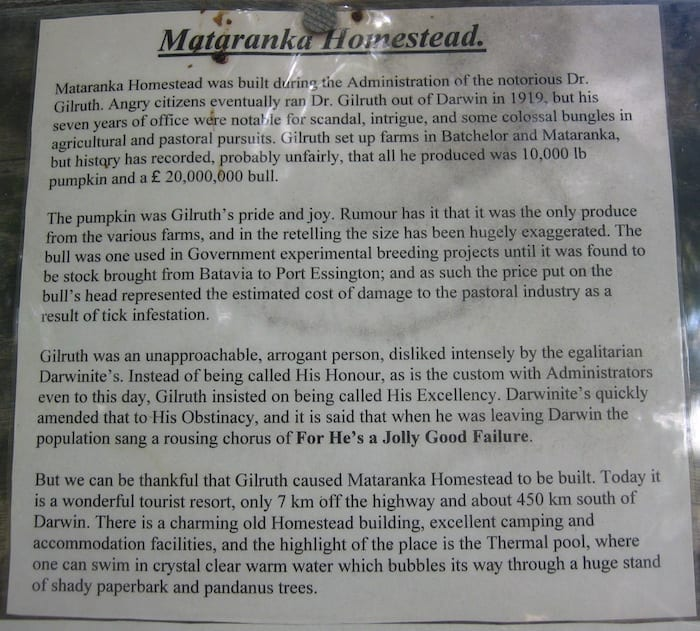 The notorious Dr Gilruth, Mataranka Homestead.