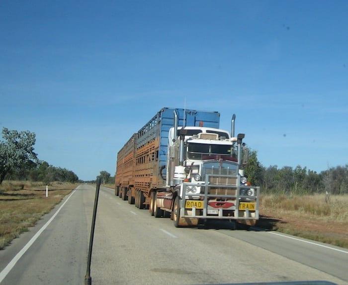 A triple road train carrying cattle. Stuart Highway, Northern Territory. Mataranka To Tennant Creek.