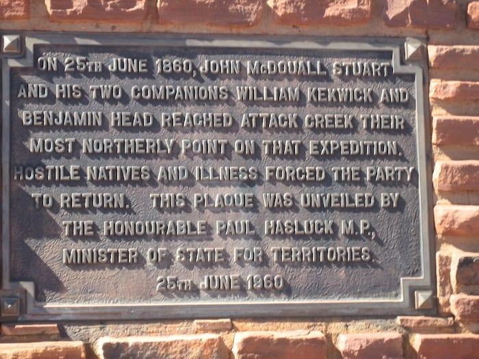Monument to Stuart at Attack Cree, Northern Territory. Mataranka To Tennant Creek.