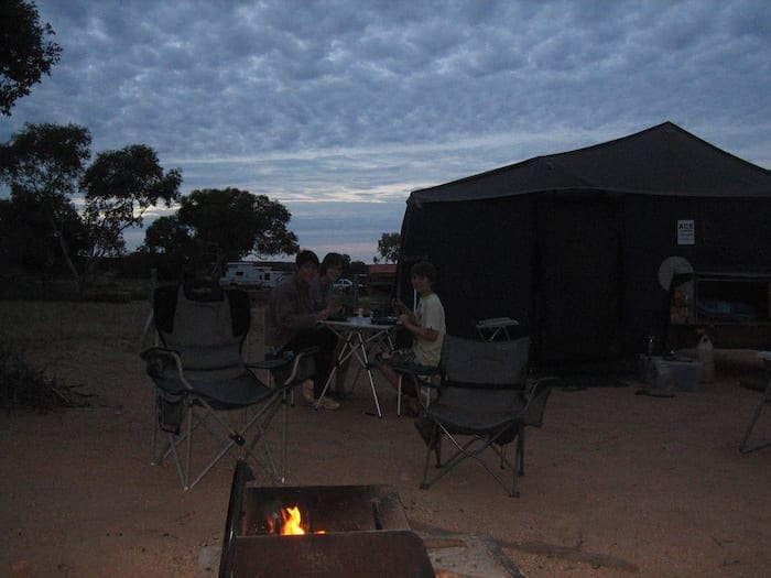 Dinner under the stars and a camp fire. Devils Marbles campground.