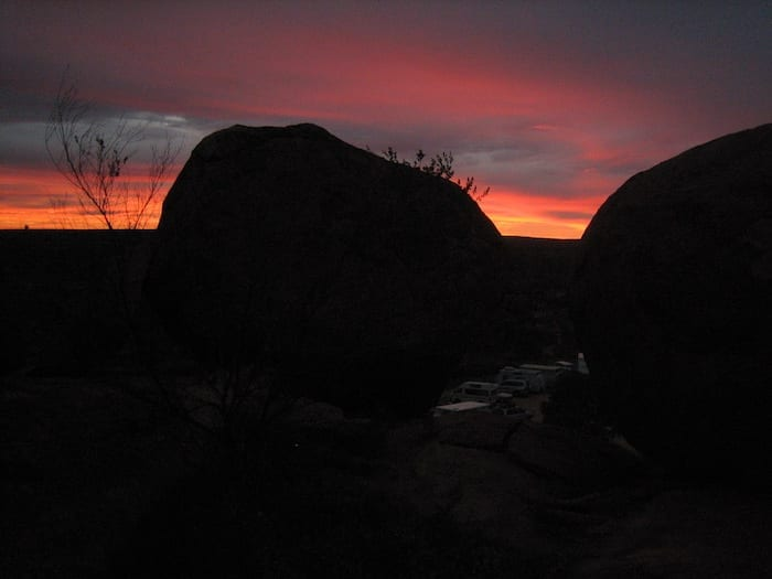 Sunrise at the Devils Marbles.