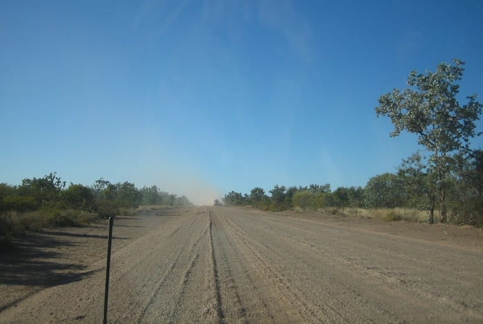 Triple road train on the way to Normanton