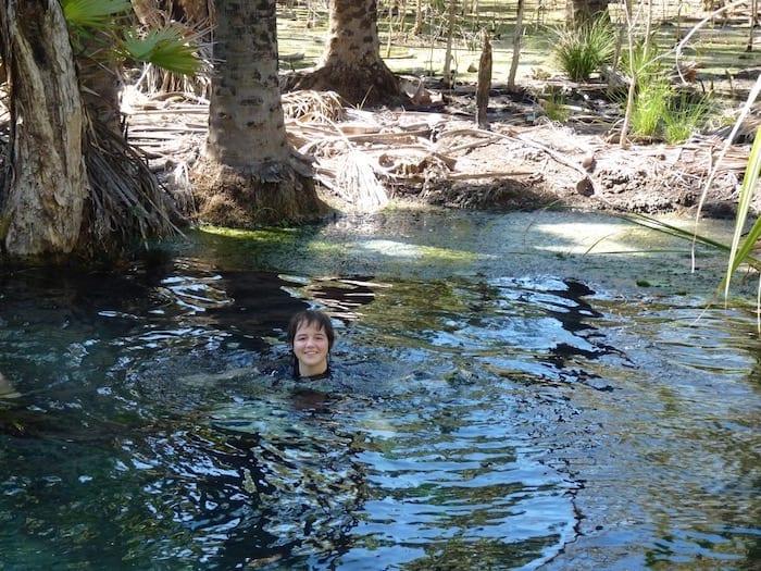 Swimming at Bitter Springs, near Mataranka.