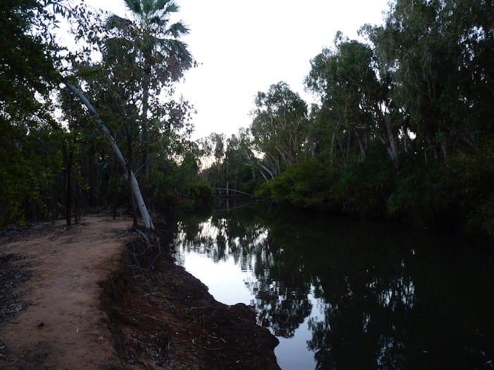 Sunset on Mataranka Thermal Pools.