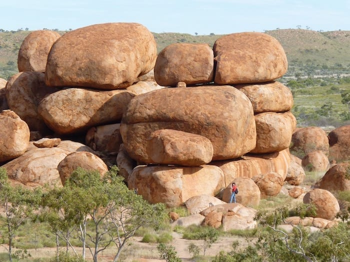 This is the same cluster of rocks Dad photographed in 1950. Devils Marbles.