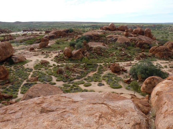 A panoramic view. Devils Marbles.