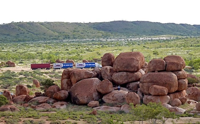 A stark contrast between old and new. Devils Marbles.