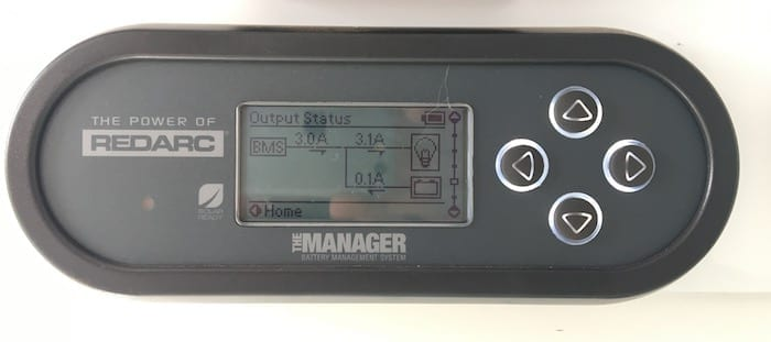 Remote monitor showing output status, REDARC Battery Management System.