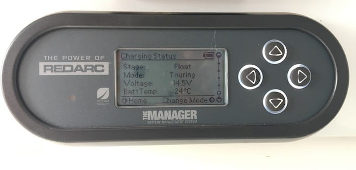 Remote monitor showing battery charging status, REDARC Battery Management System.