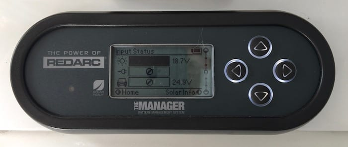 Remote monitor showing input status, REDARC Battery Management System.