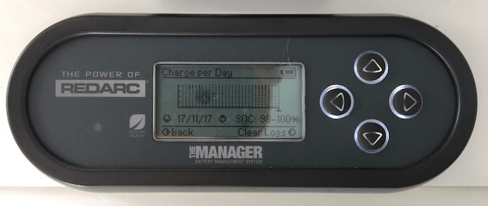 Remote monitor showing battery charge per day, REDARC Battery Management System.