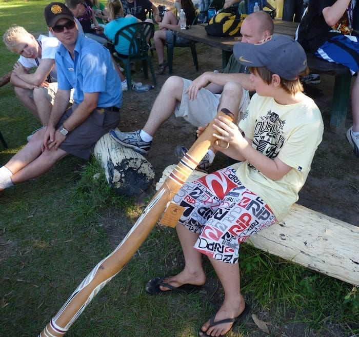 Ben belting out a tune on the didgeridoo. Manyallaluk, Northern Territory.