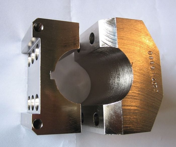A mild steel component cut with a water jet cutter. Donaldson Filters