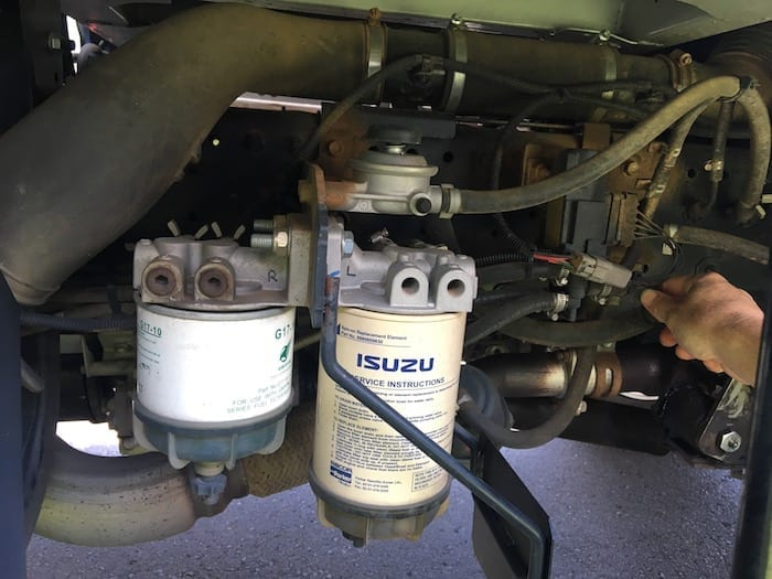 The existing pre-filters on our Isuzu NPS. Donaldson Filters.