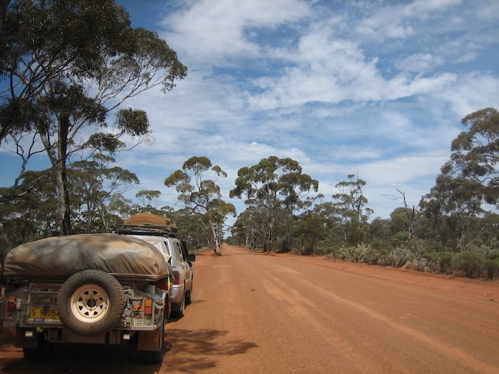 On the road between Rowles Lagoon and Coolgardie. Golden Quest Discovery Trail.