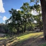 Our shady campsite, Goulburn River National Park.