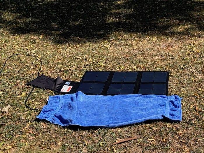 REDARC 115W SunPower Cell solar blanket ⅓ covered.