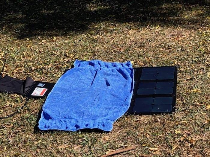 REDARC 115W SunPower Cell solar blanket ⅔ covered.