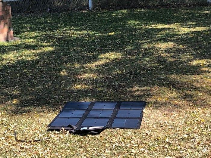 REDARC 115W SunPower Cell solar blanket in partial shade.
