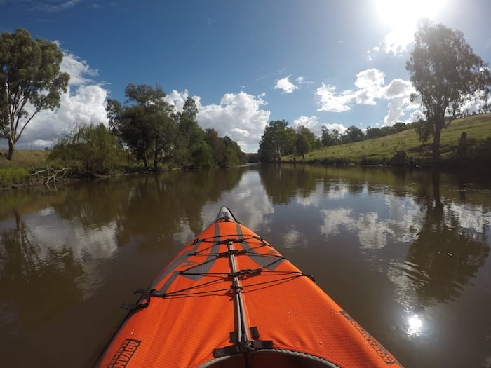 Advanced Elements Inflatable Kayak on the Lachlan River.