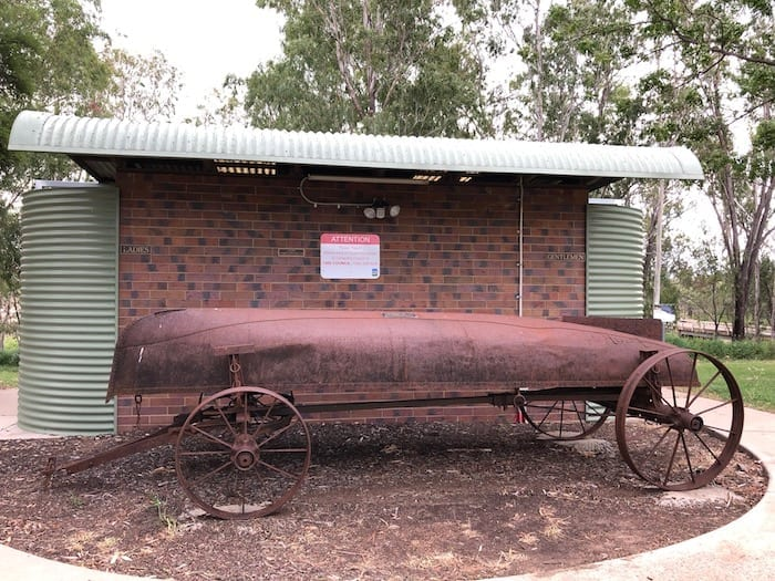 Old steel boat for floods, Condamine.