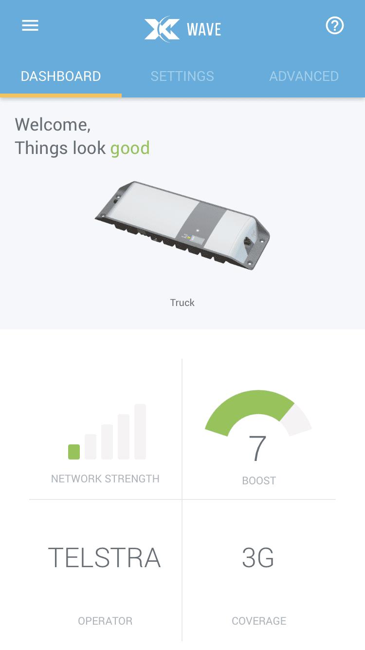 Cel-Fi GO Wave app dashboard. Signal booster.