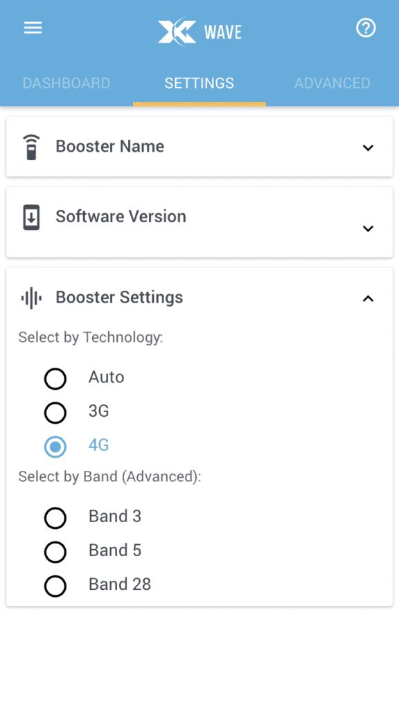 Cel-Fi GO Wave app, 4G mode. Signal booster.
