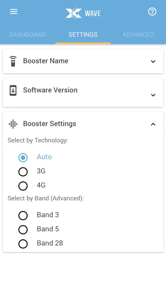Cel-Fi GO Wave app, Auto mode. Signal booster.