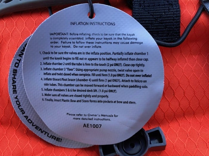 Inflation instructions are attached to the Inflatable Kayak.