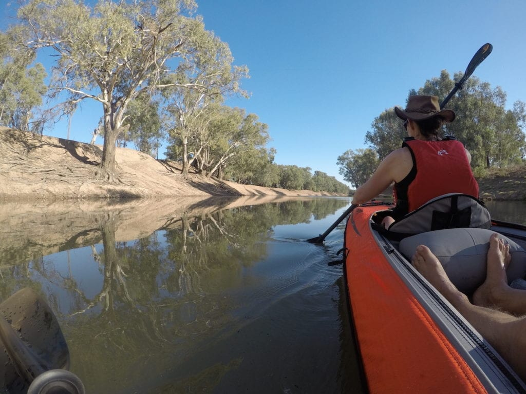 Cruising on the Darling River. Inflatable Kayaks.