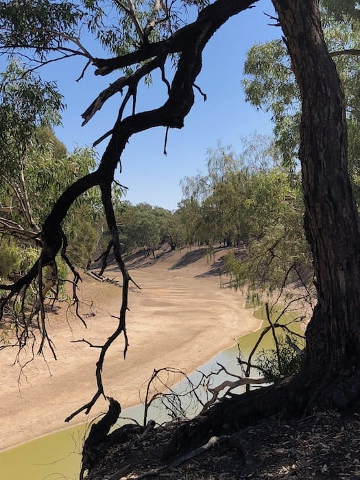 Dry riverbed on the Darling River.