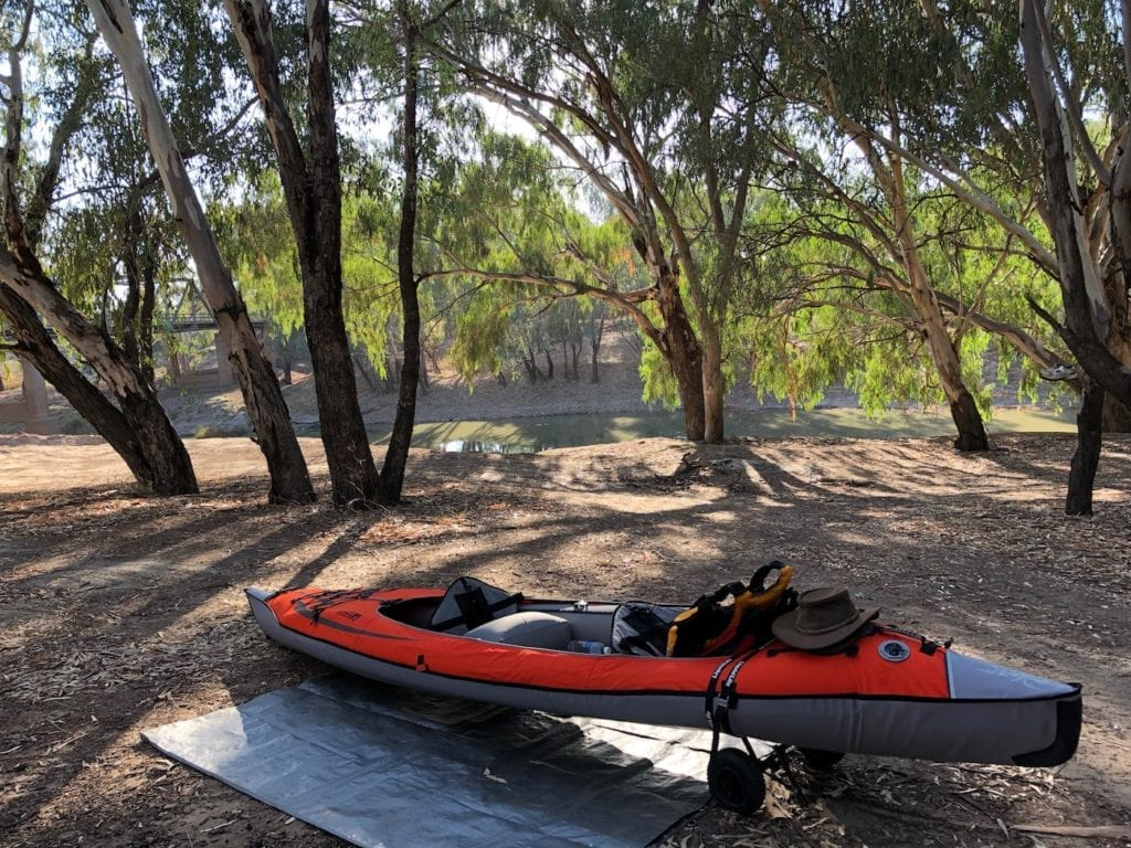 Ready to kayak on the Darling River. Inflatable Kayaks.